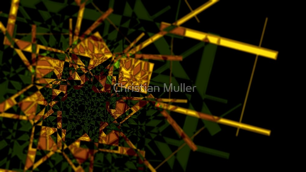 Golden fractal abstract geometric background by Christian Muller