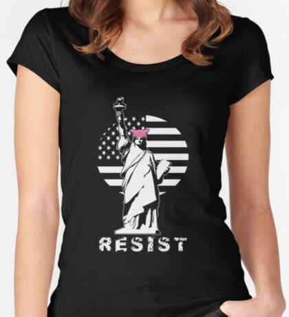 Lady Liberty Pink Protest Women's Fitted Scoop T-Shirt