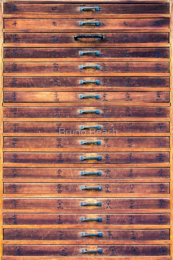 Vintage wooden drawers in To-ji Temple - Kyoto, Japan by Bruno Beach