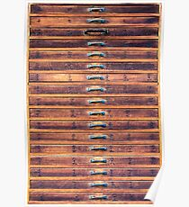 Vintage wooden drawers in To-ji Temple - Kyoto, Japan Poster