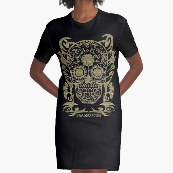 Skull Flower Totenkopf filigran Tribal T-Shirt Kleid