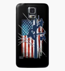 Gift For Lineman - Lineman with American Flag Shirt Case/Skin for Samsung Galaxy