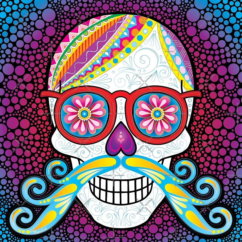 Sugar Skull with Mustache by Thaneeya McArdle