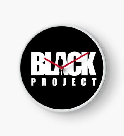 BLACK PROJECT WHITE LOGO ON BLACK Clock
