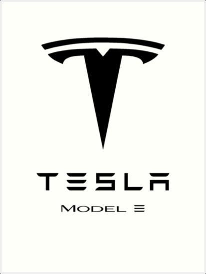 Quot Tesla Model 3 Logo Quot Art Print By Tarzanwynn Redbubble