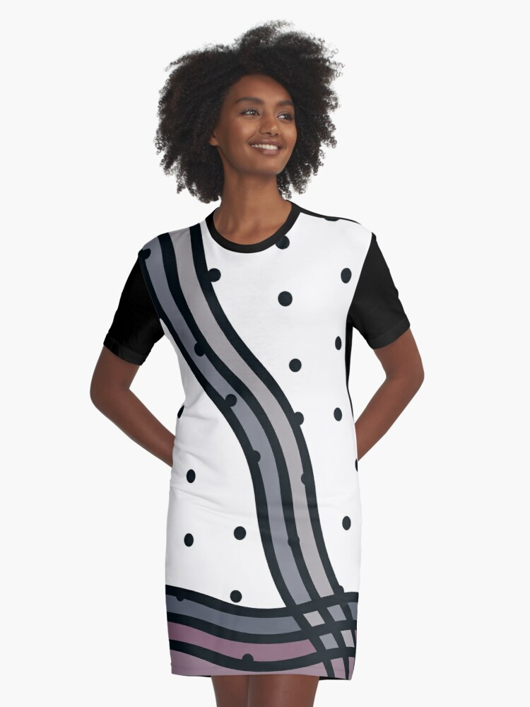Polka Dot Wave Graphic T-Shirt Dress Front