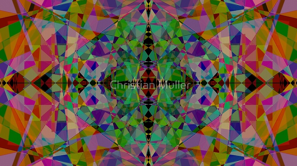 Fractal abstract intricate pattern geometric mandala symmetry background by Christian Muller