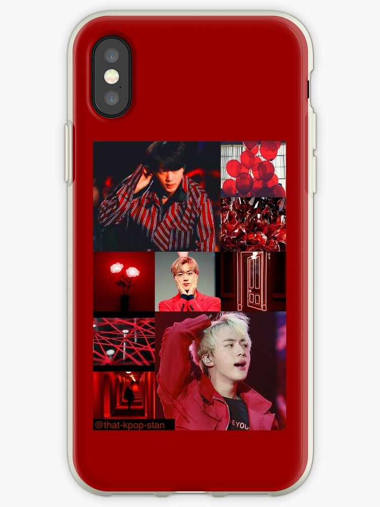 BTS Jin Red Aesthetic Collage by that-kpop-stan