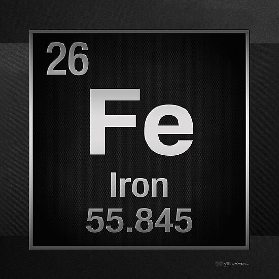 Periodic table of elements iron fe on black canvas posters by periodic table of elements iron fe on black canvas by serge averbukh urtaz Gallery