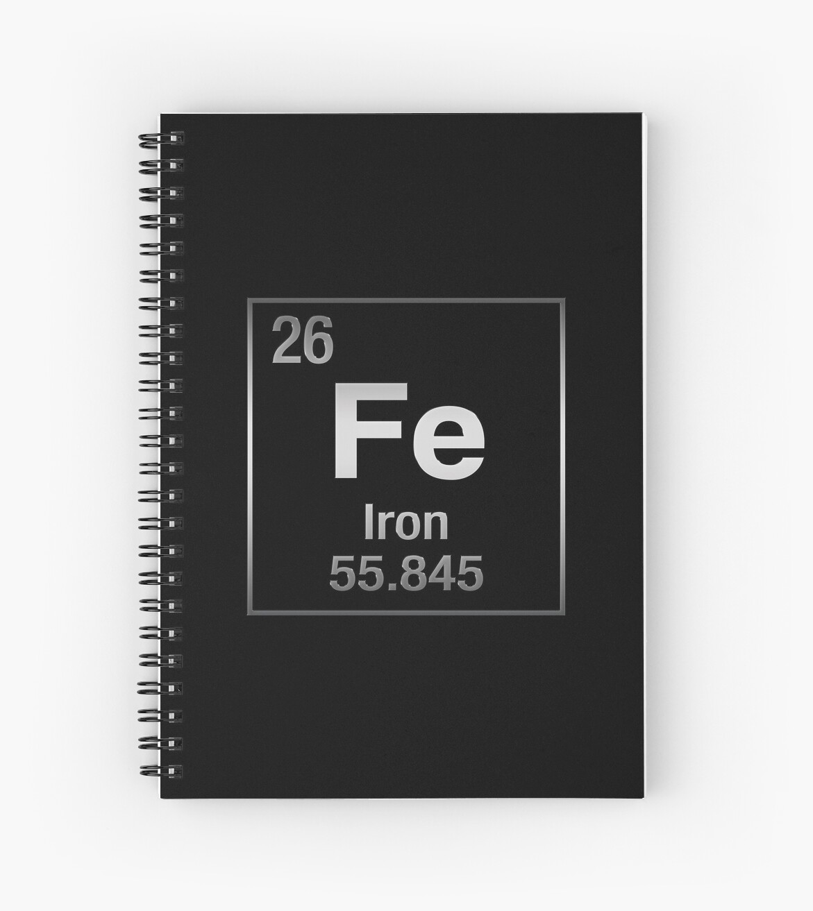 Periodic Table of Elements - Iron (Fe) on Black Canvas by Serge Averbukh