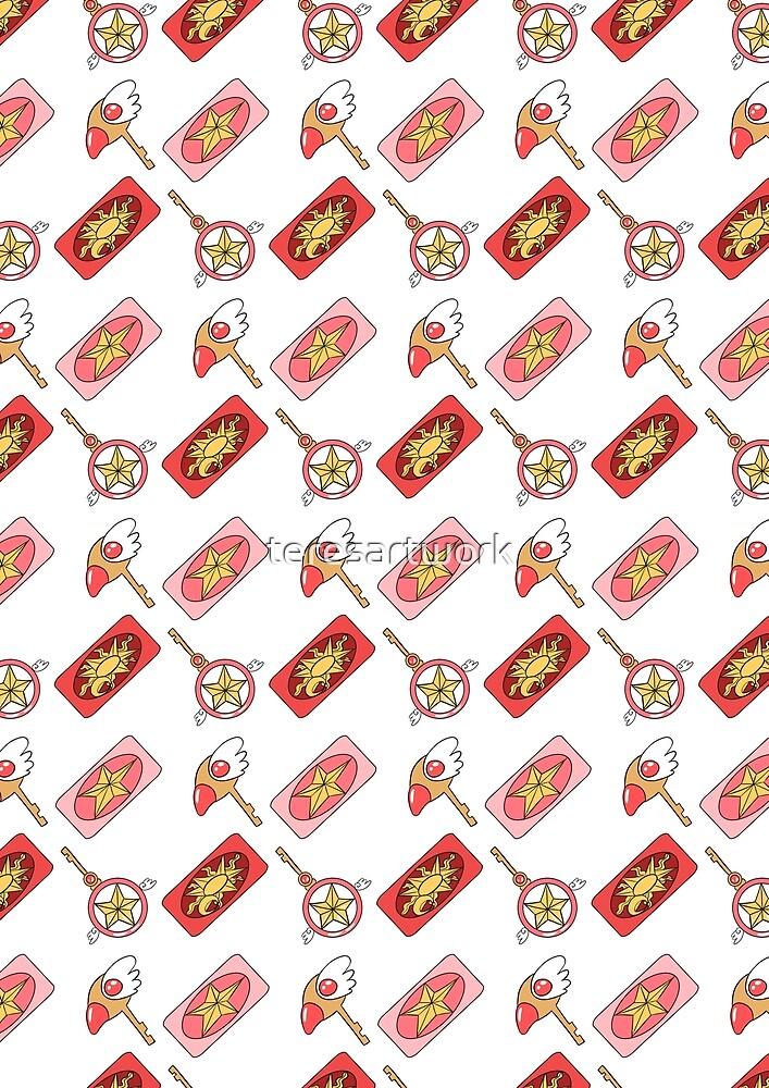 Cardcaptor Sakura Pattern 2 - White by teresartwork