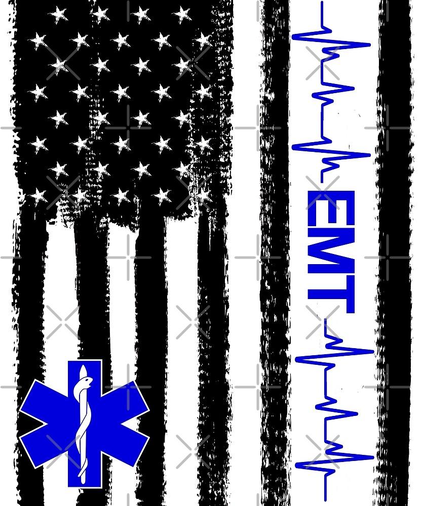 EMT Paramedic US Flag by PopArtDesigns