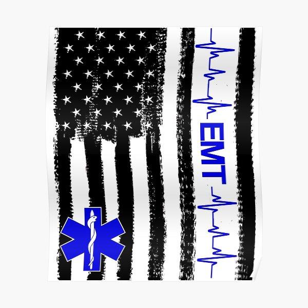 EMT Paramedic US Flag Poster