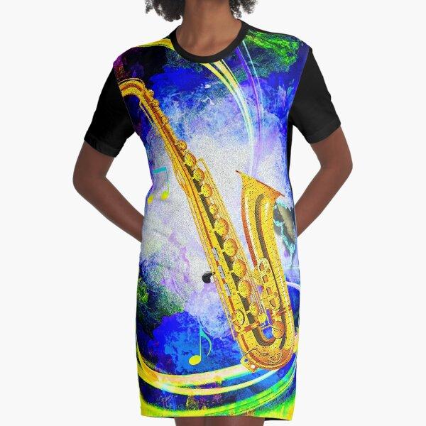 SAXOPHONE Graphic T-Shirt Dress