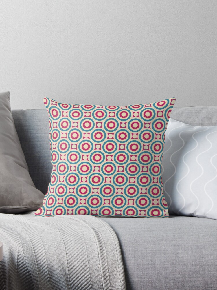 Robins Egg Blue and Red Intersecting Circles and Dots Retro Pattern by coverinlove