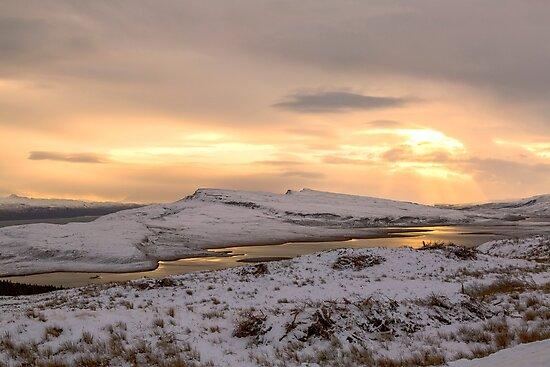Snow Covered Trotternish Ridge Toward Sundown by derekbeattie