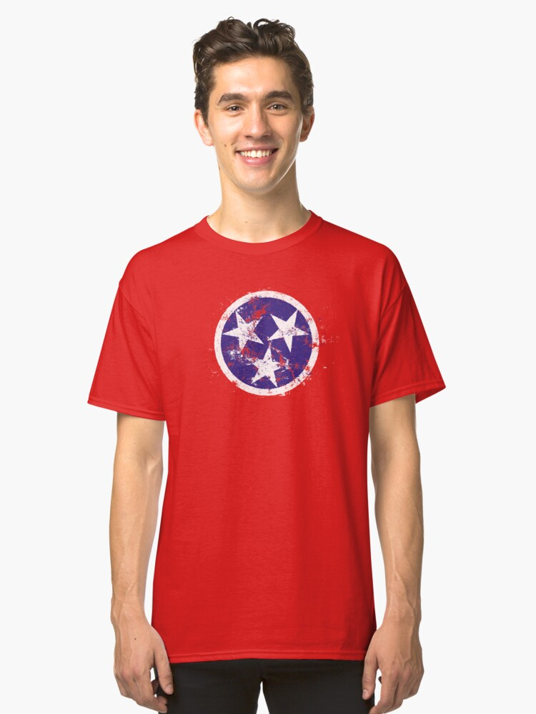 Distressed State Flag Of Tennessee Classic T-Shirt Front