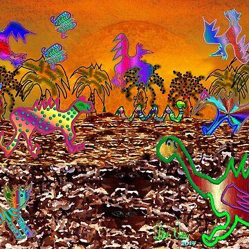 Pre-Hystrical Landscape Scene by Dennarto