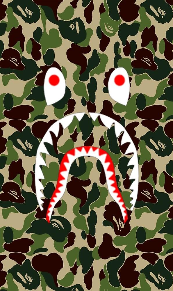 Army Shark Bape Case by Neelygary