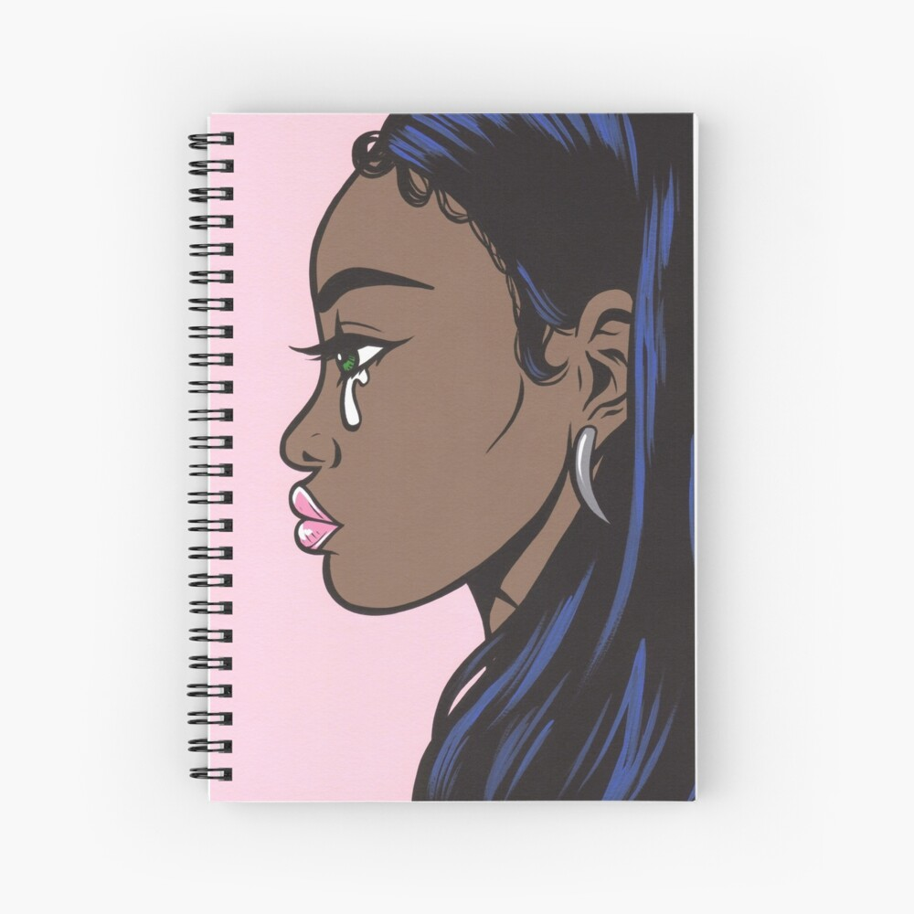 African American Sad Crying Comic Girl Spiral Notebook