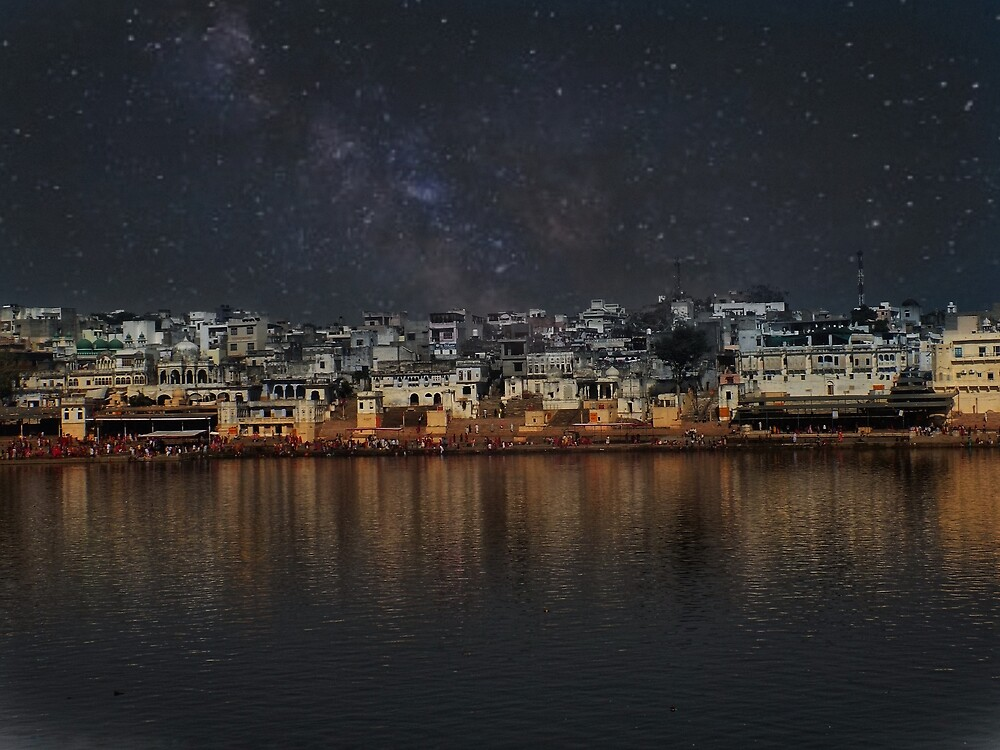 Lake view Pushkar city by Iamperspective