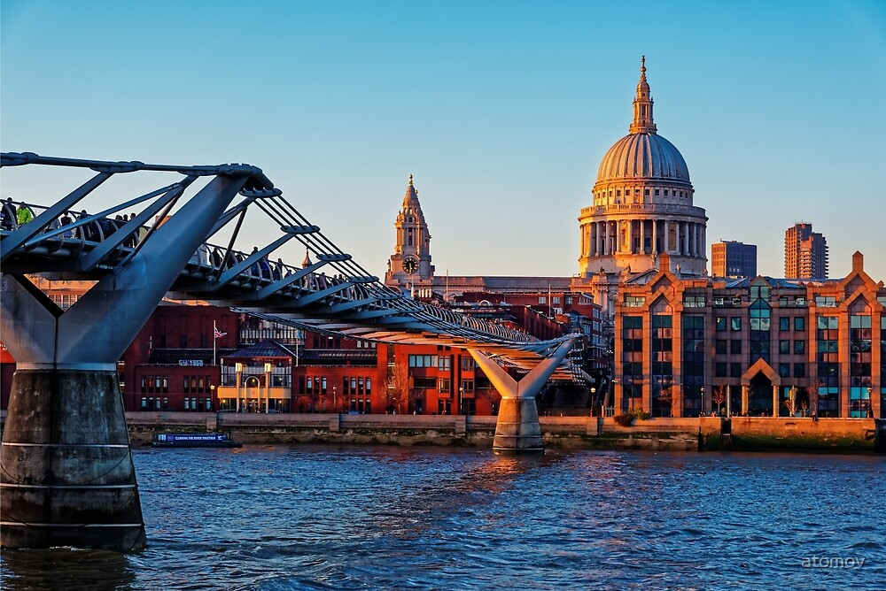 The Millennium Bridge and St Paul's Cathedral, London, England by atomov