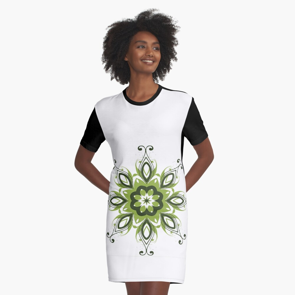 Flowers Abstract Art Graphic T-Shirt Dress Front