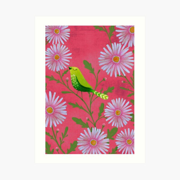 Summer green bird Art Print