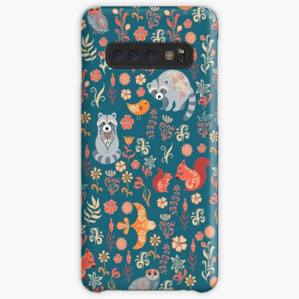 Fairy-tale forest. Fox, bear, raccoon, owls, rabbits, flowers and herbs on a white background. Seamless pattern. Samsung Galaxy Snap Case