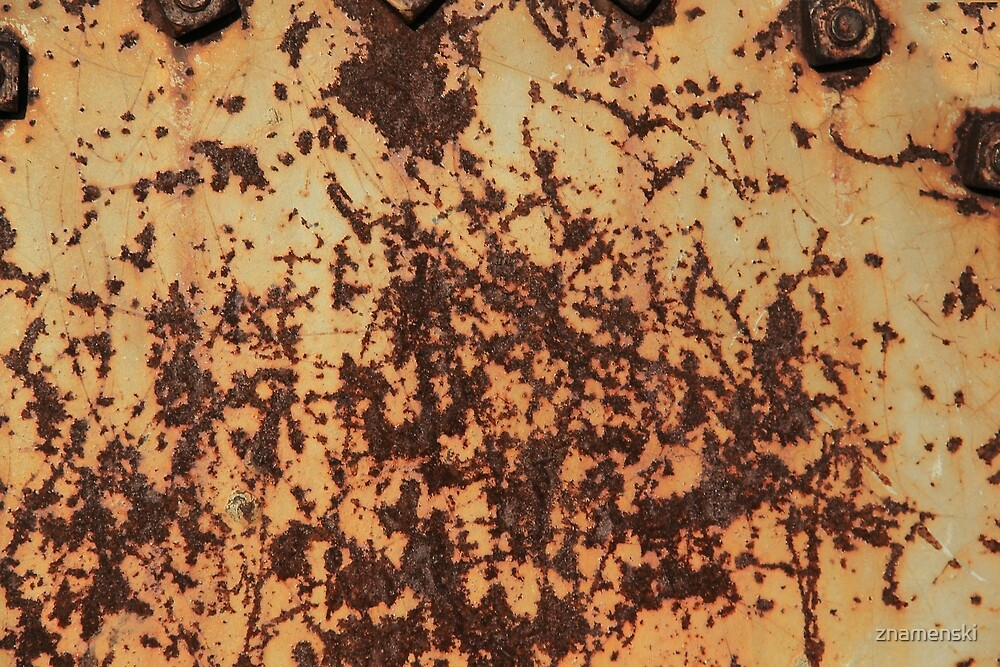 Rusty, scratched, dirty surface of iron sheet by znamenski