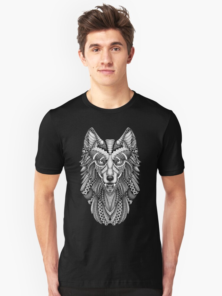 grey wolf with detail pattern Unisex T-Shirt Front