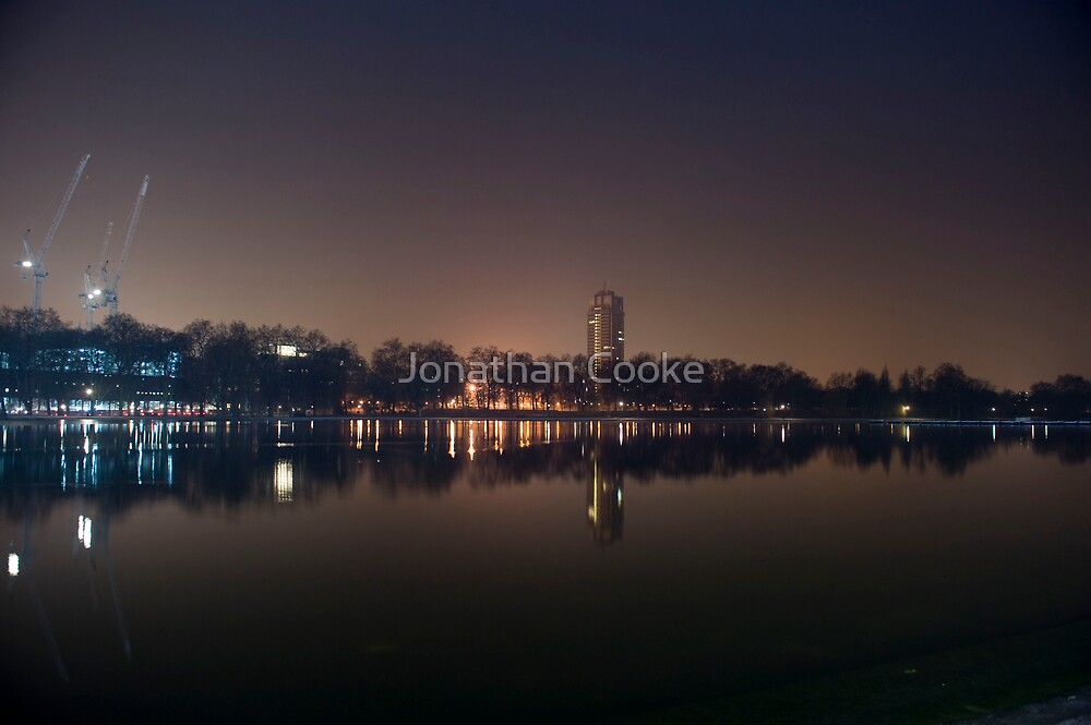 Hyde Park Lake by Night by Jonathan Cooke