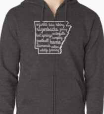 Arkansas Custom Outline Words Zipped Hoodie