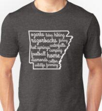 Arkansas Custom Outline Words Unisex T-Shirt