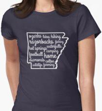 Arkansas Custom Outline Words Women's Fitted T-Shirt