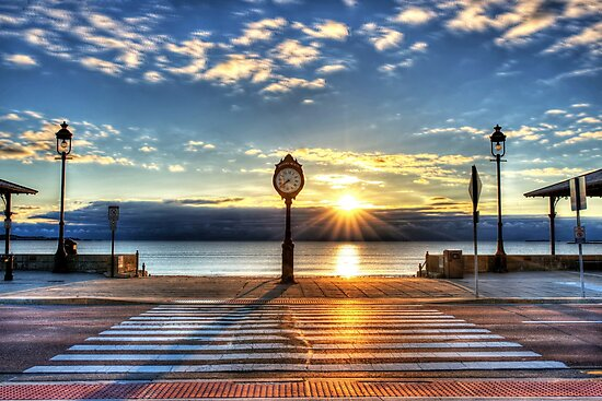 Revere Beach Clock at Sunrise Angled Long Shadow Revere MA by WayneOxfordPh