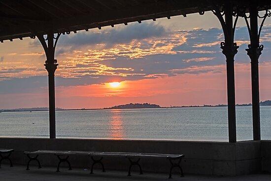 Revere Beach Sunrise Revere MA Clouds Bench by WayneOxfordPh