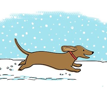 Snow Dachshund Holiday by ShortCoffee