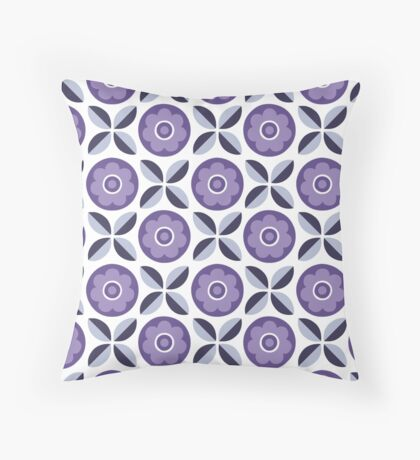 Purple and Grey Floral Retro Pattern Throw Pillow