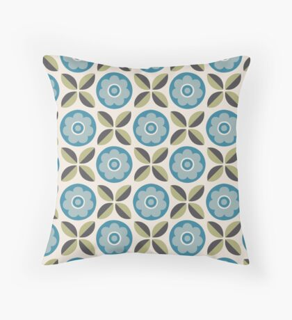 Robins Egg Blue and Green Floral Retro Pattern Throw Pillow