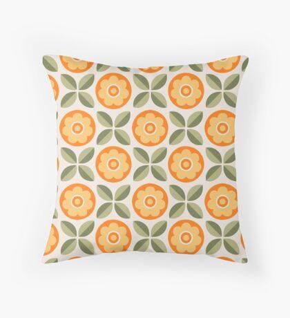 Orange and Green Floral Retro Pattern Throw Pillow
