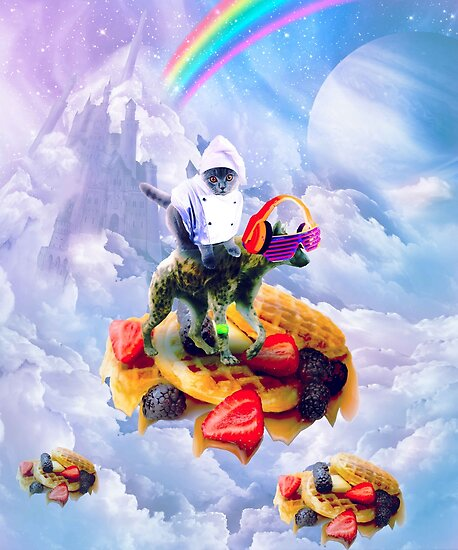 Cat Riding Hyena On Clouds And Waffles by SkylerJHill