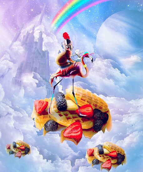 Cat Riding Flamingo On Clouds And Waffles by SkylerJHill