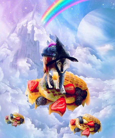 Cat Riding Wolf On Clouds And Waffles by SkylerJHill