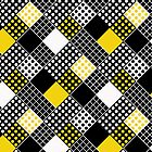 Yellow and Black Dots and Squares Retro patterm by coverinlove