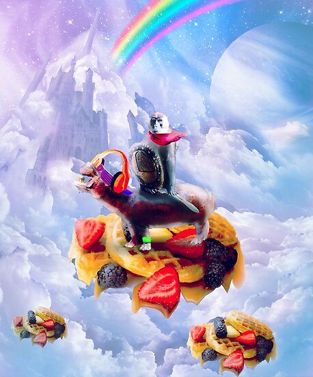 Monkey Riding Hippo On Clouds And Waffles by SkylerJHill