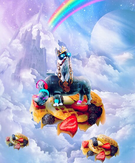 Cat Riding Rhino On Clouds And Waffles by SkylerJHill