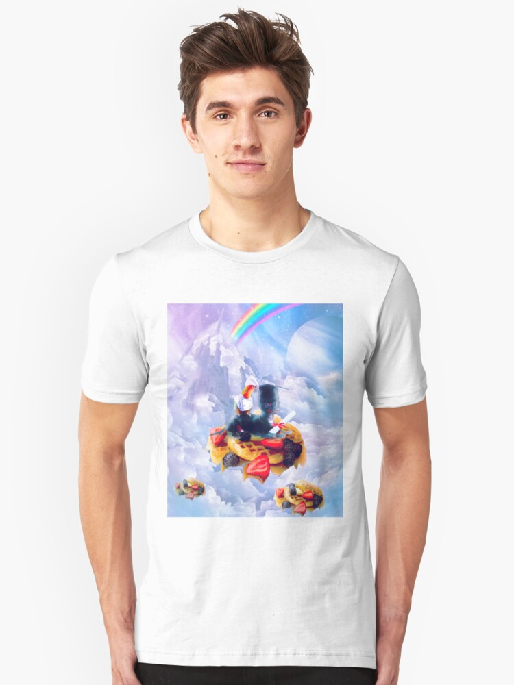Bird Riding Dog On Clouds And Waffles Unisex T-Shirt Front