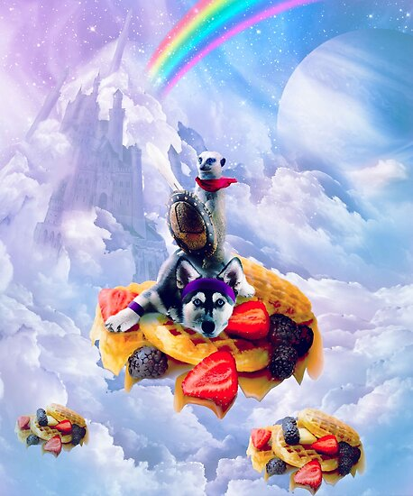 Lemur Riding Dog On Clouds And Waffles by SkylerJHill
