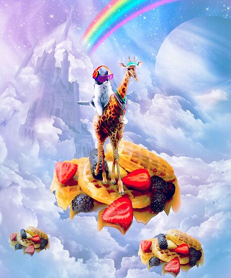 Cat Riding Giraffe On Clouds And Waffles by SkylerJHill